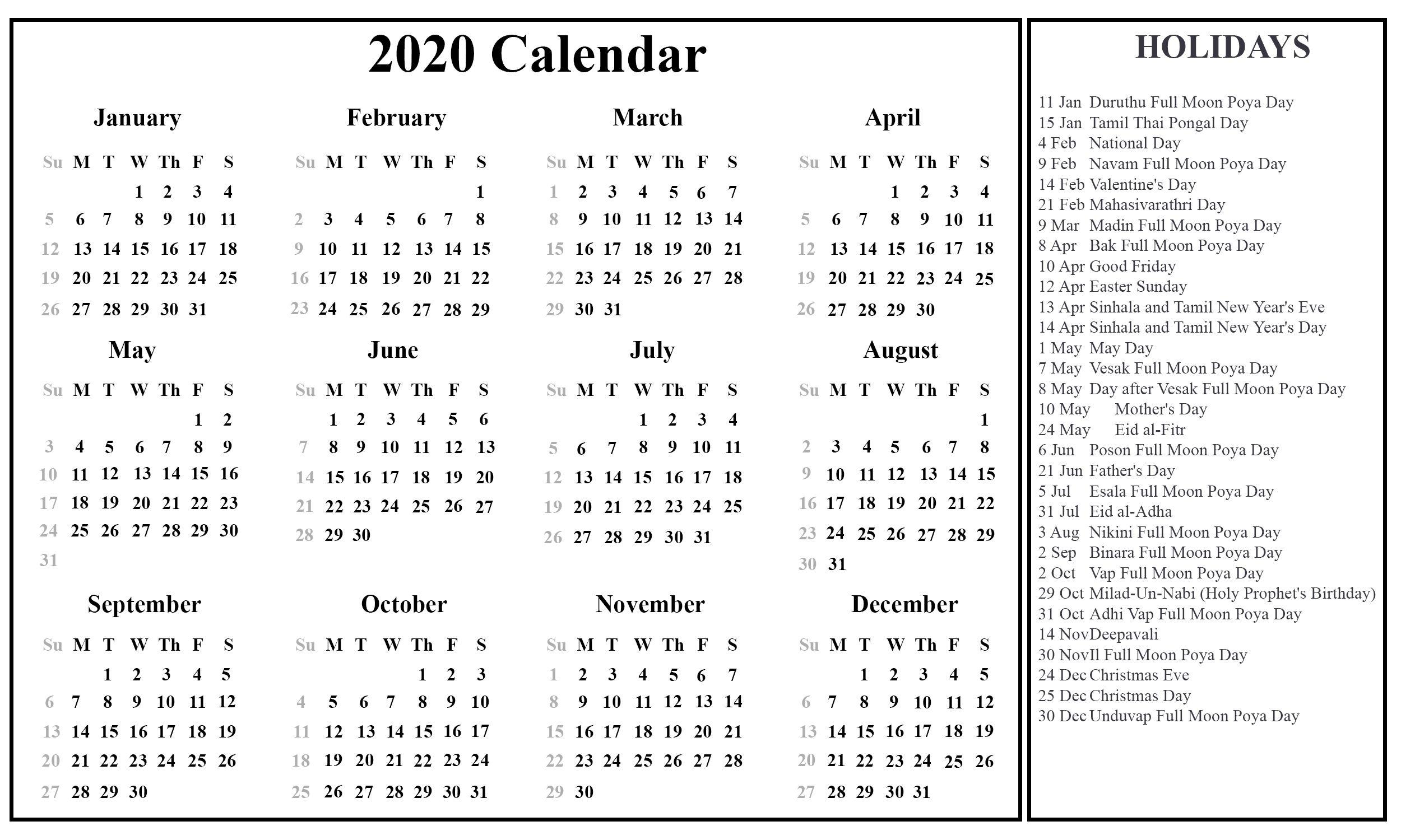 2021 Calendar Sri Lanka Di 2020 Valentine