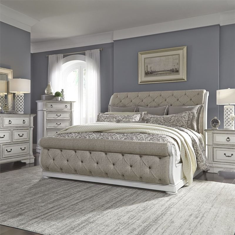 Abbey Park distressed white bedroom set with tufted
