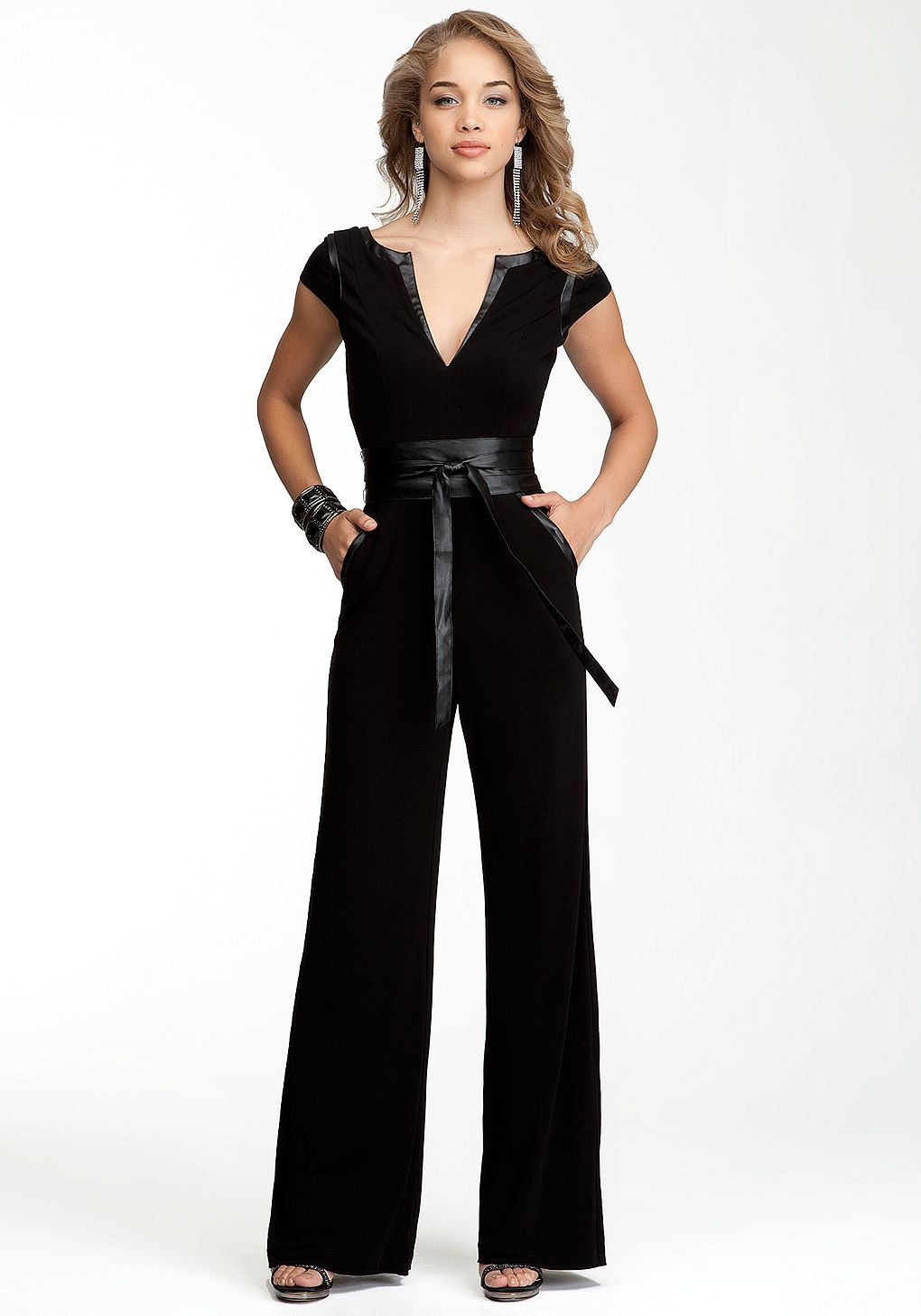 bebe  wrap belt knit jumpsuit  online exclusive  view