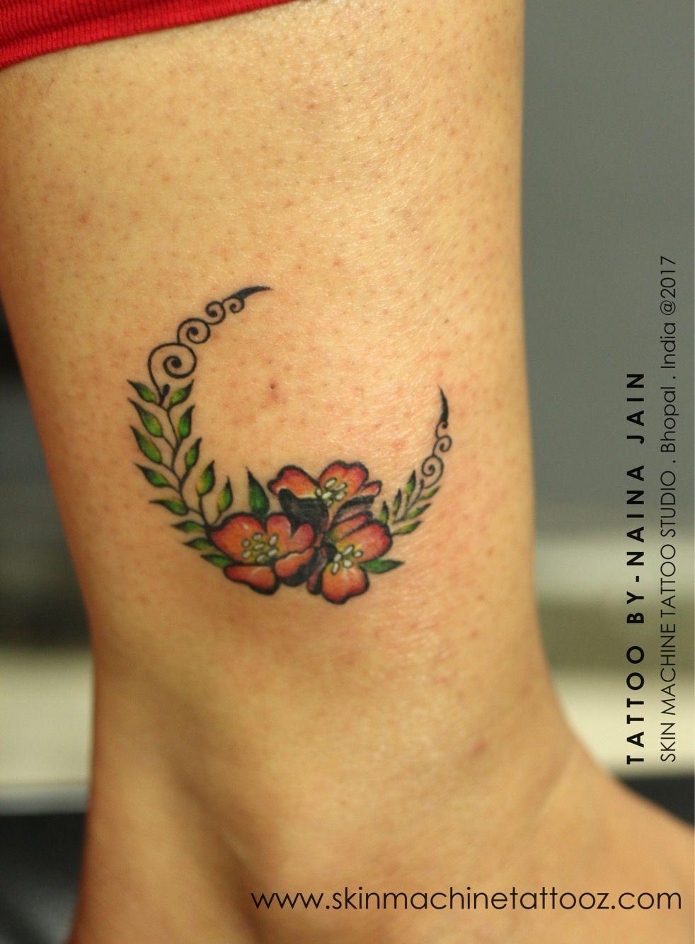 2081c4413 Half Moon with flowers Tattoo by Naina Jain @nains_tattoos Follow for more  artwork - Skin