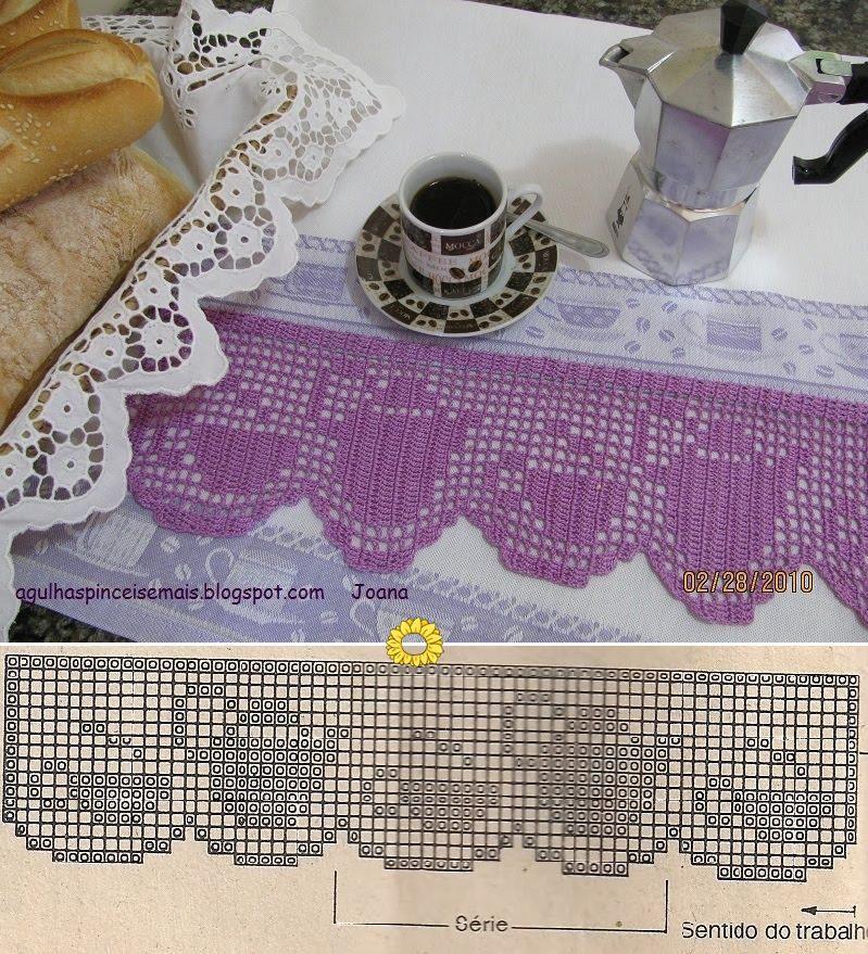 agulhas e pinceis pano para o cafezinho barrado croch fil filet crochet bicos in 2018. Black Bedroom Furniture Sets. Home Design Ideas
