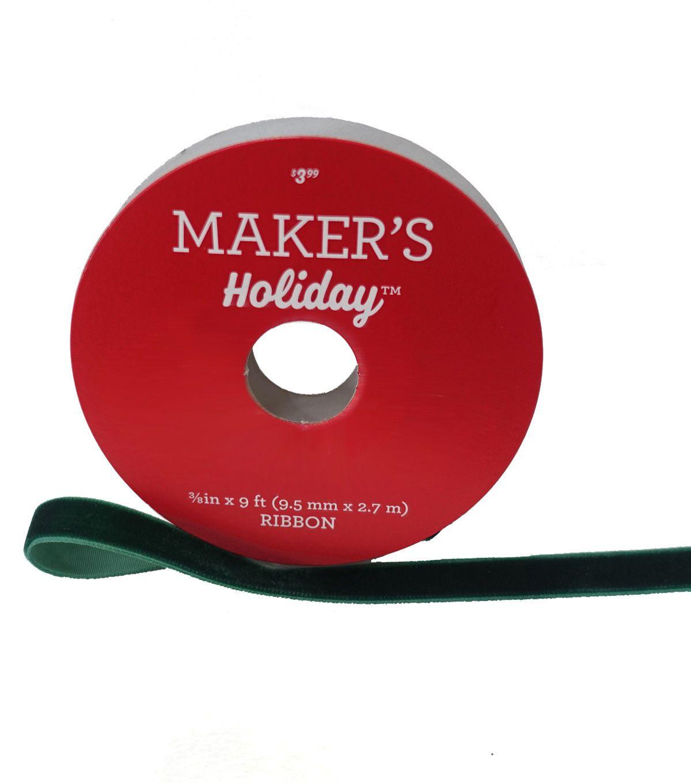 Maker's Holiday Christmas Velvet Ribbon 3/8''x9' - Green