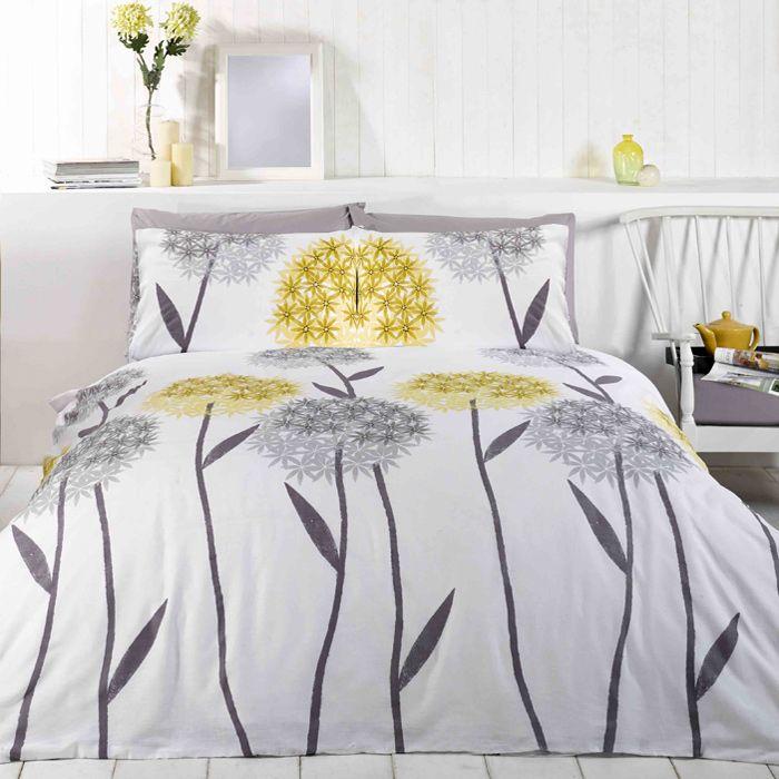 Alium White Lemon Grey Modern Duvet Cover Set Yellow Duvet Yellow Bedding Yellow Bedding Sets