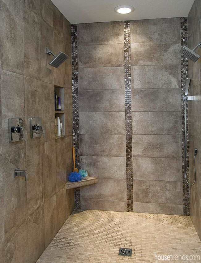 Mosaic tile adds interest to a shower design. #housetrends ...