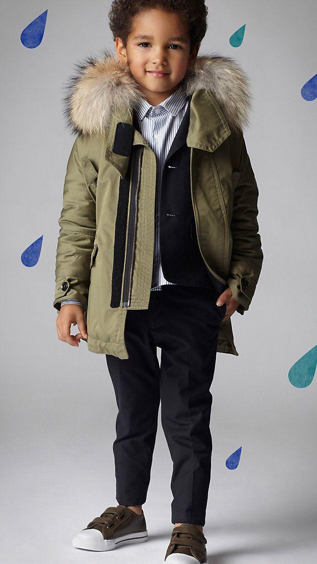 Burberry fur lined boy coat - LOVE!