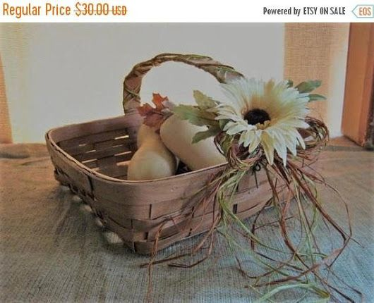 Painted Fall Basket for Home or Wedding Decor LARGE Square