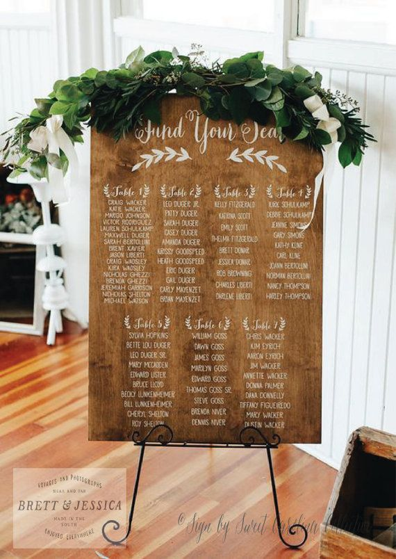 Rustic Seating Chart  Seating Chart  Wedding Seating Plan