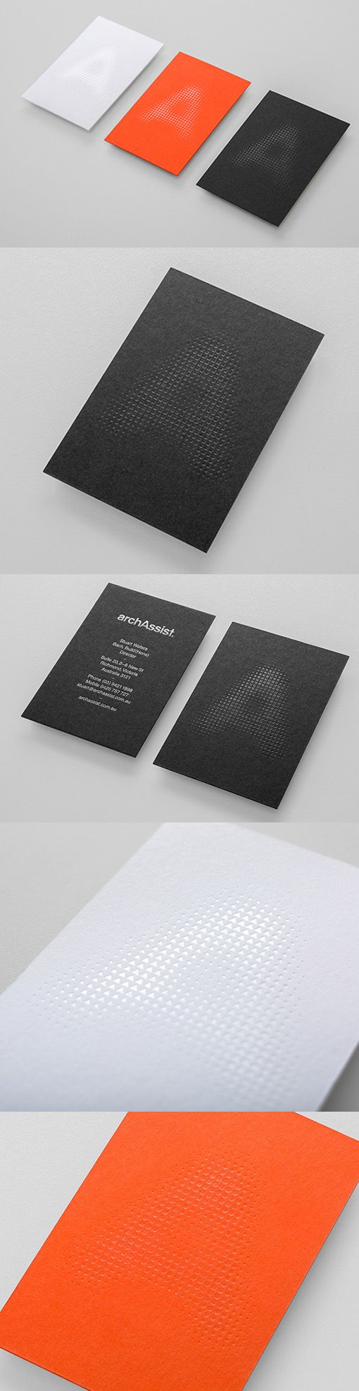Subtle And Clever Use Of Texture On Block Colour Business Cards For An Architecture Firm