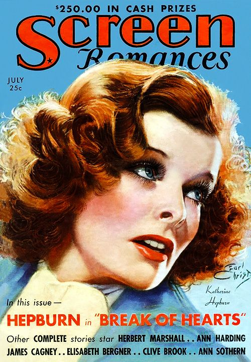 Katharine Hepburn illustrated by Earl Christy on the cover of Screen Romances, July 1935.