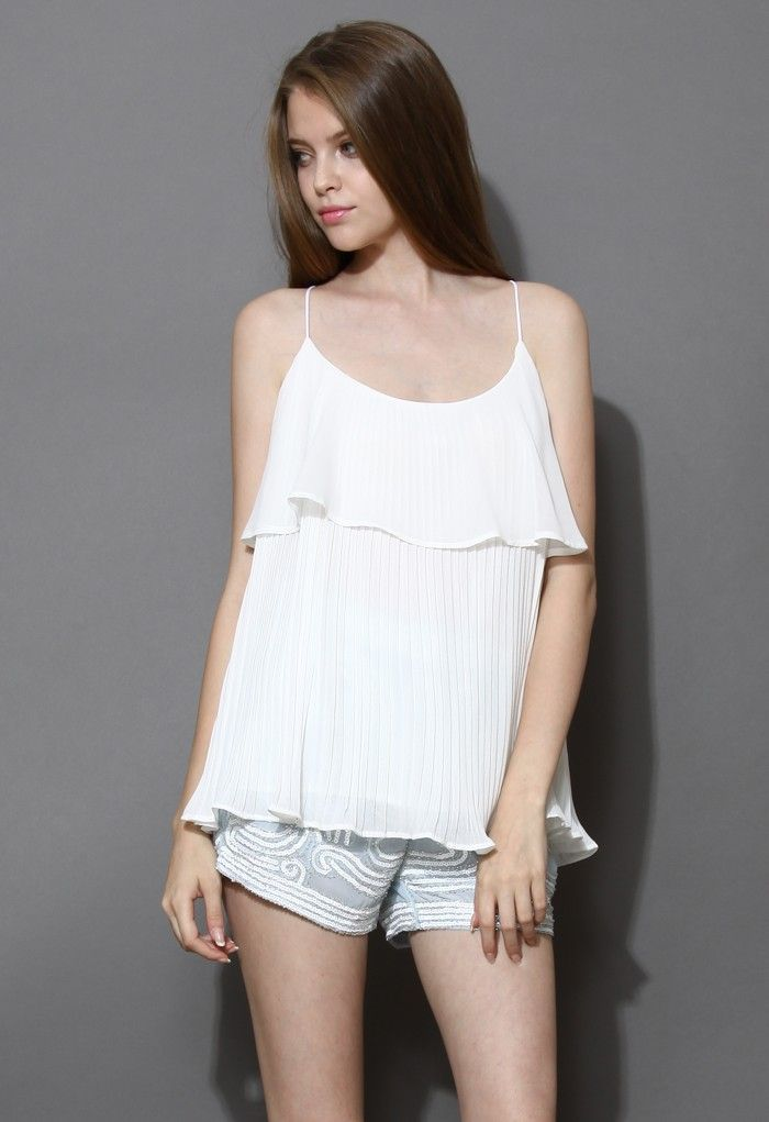 Ruffle Pleated Chiffon Cami Top in White