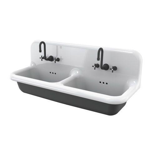Vasque double / suspendue / en céramique / de style Lavabo double - lavabo retro salle de bain