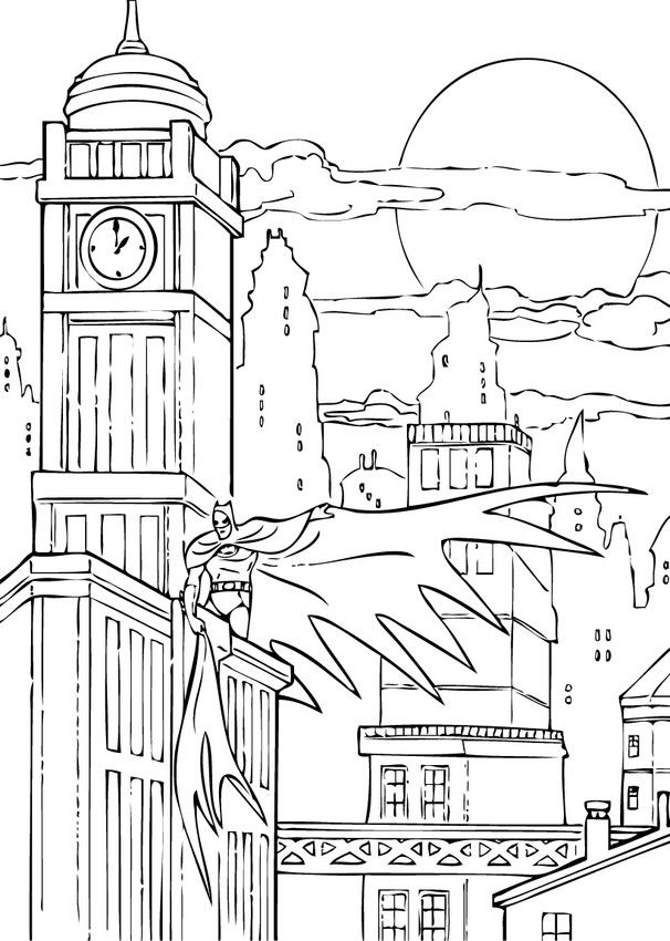 There Is The Batman In Gotham City Coloring Page Add Some Colors