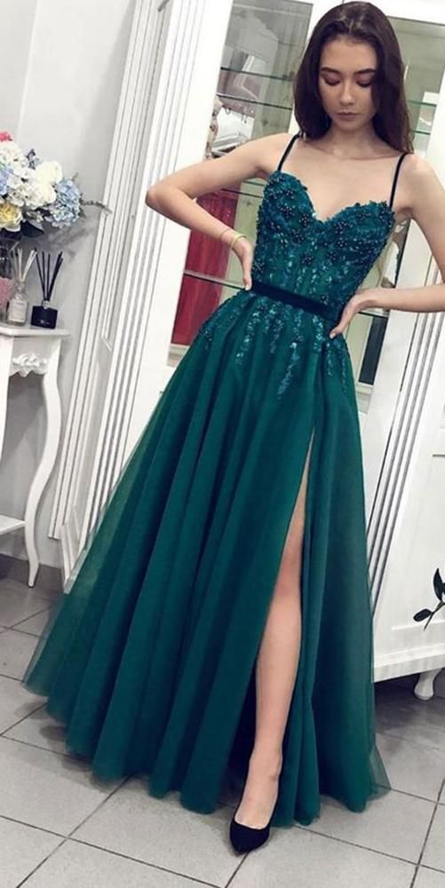 Sweetheart Long Spaghetti Straps Prom Dress Custom Made Long Beaded Evening Dress Fashion Long Side Slit School Dance Dress PD830 #schooldancedresses