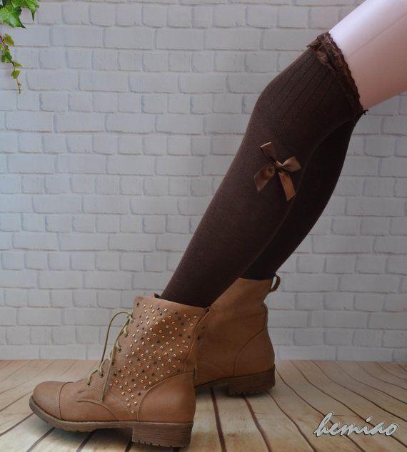 Verkauf Oberschenkel hohe Spitzen Boot Socken, braunen Spitzen oberen Bogen Socken, Kniestrümpfe hoch, braun Damen-Kniestrümpfe, Boot Socken, Stulpen von Frauen,