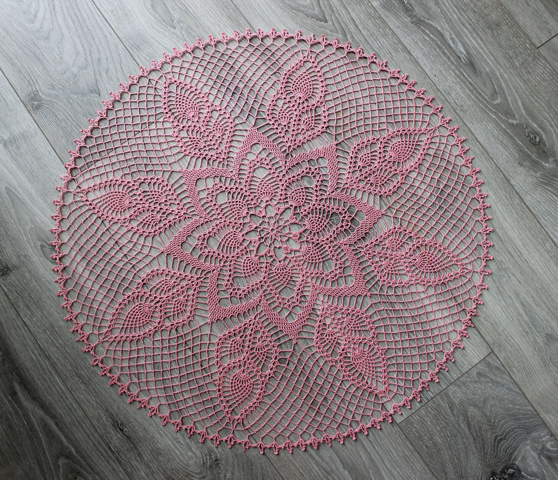 Große Runde Häkeldeckchen in rosa. Mit Qualität, mercerisiert häkeln ...