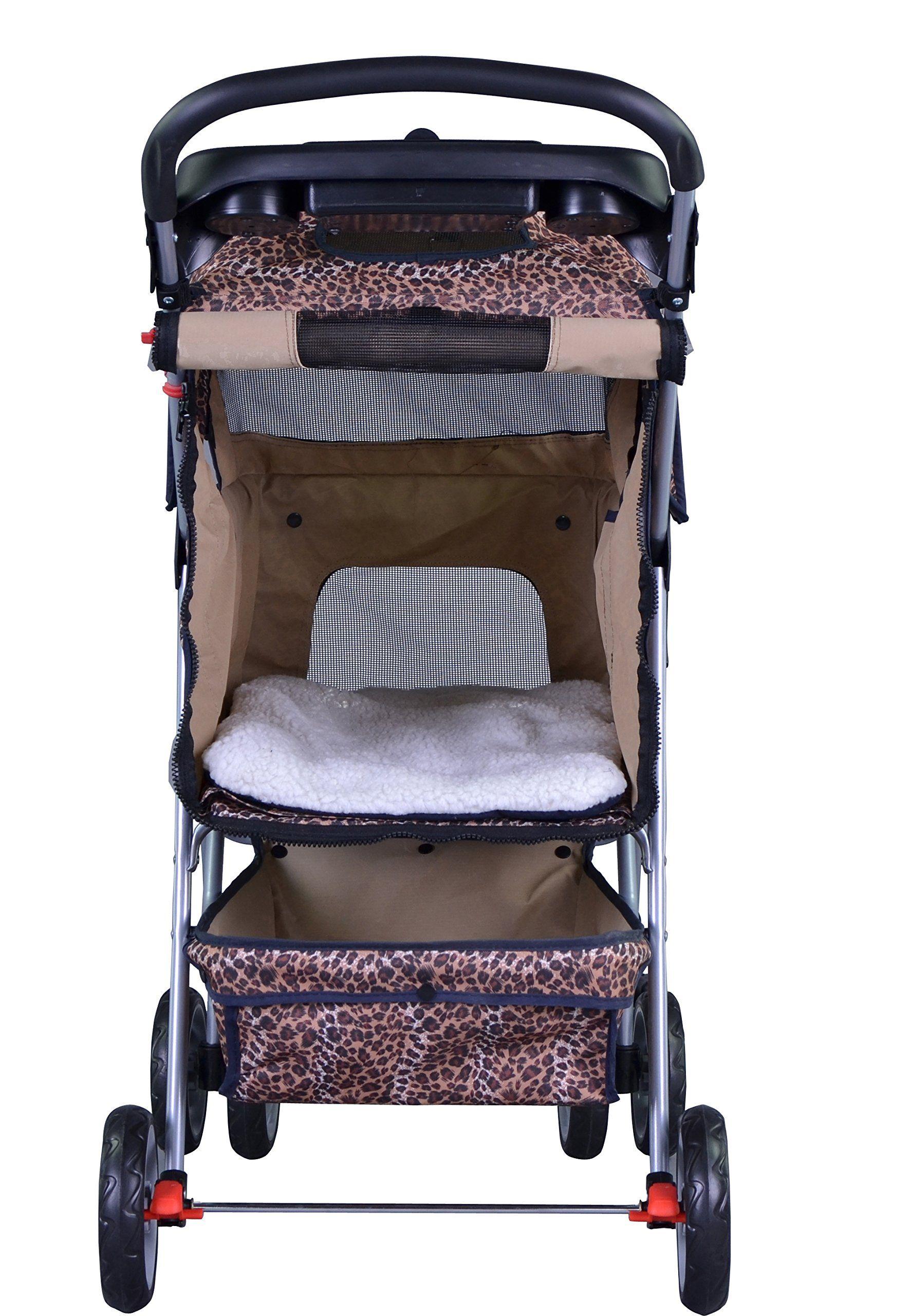 Leopard Skin 4 Wheels Pet Dog Cat Stroller w/RainCover