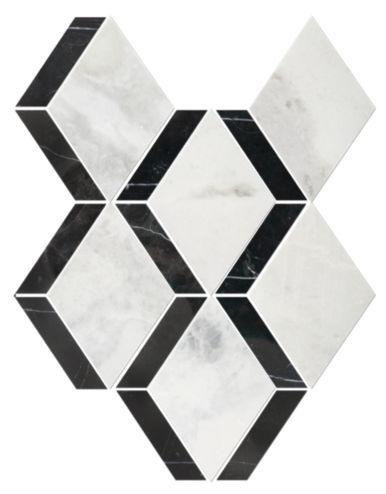 Tempesta Neve Polished Wheaton With Black Tile Master Bathroom Black And White Marble Tile Floor The Tile Shop Diamond Tile Marble Mosaic