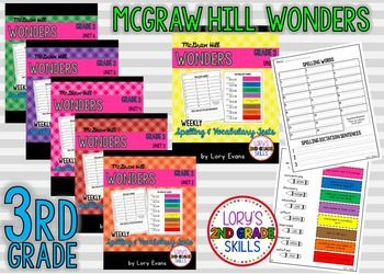 WONDERS 3rd Grade - Spelling & Vocabulary Test Units 1-6