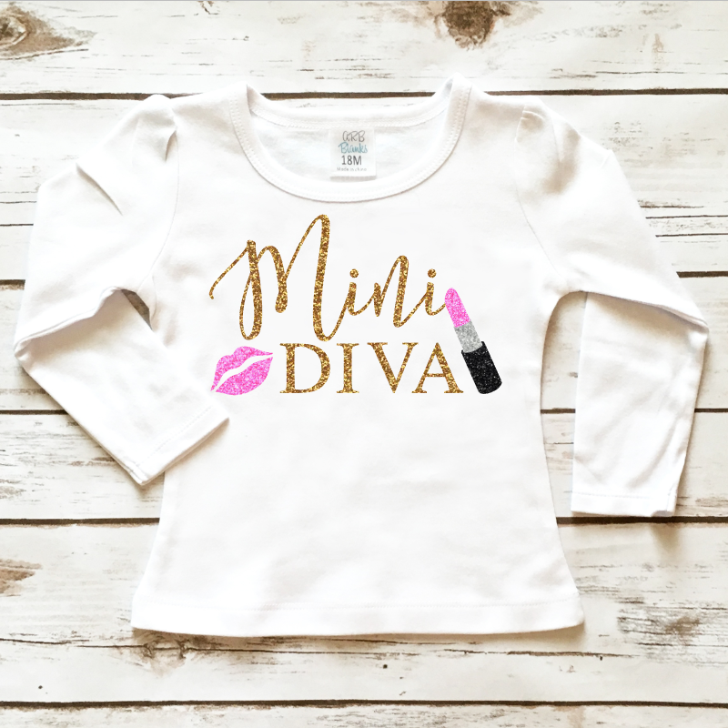 e34927c854a29 Little Girl's Clothes - Mini Diva Toddler Sparkle Shirt in Sparkly Gold  Glitter and Pink Glitter. Browse our entire selection at  www.shopcassidyscloset.com