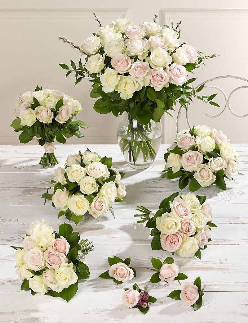 Pink & White Luxury Rose Wedding Flowers - Collection 4 | M&S