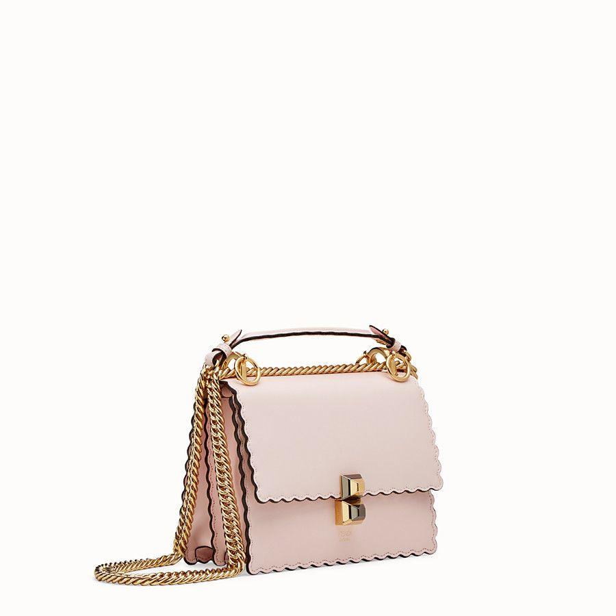 FENDI KAN I SMALL - Pink leather mini-bag - view 2 detail bf7bf6446fb4d