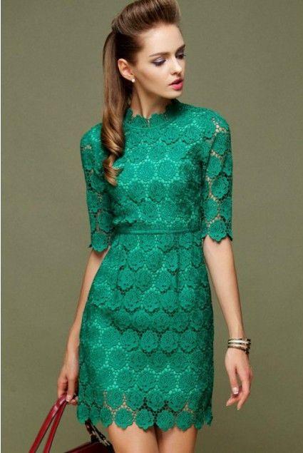 ae33790dd451 Robe de soirée vert en dentelle manches mi-longues chez Chicoin ...