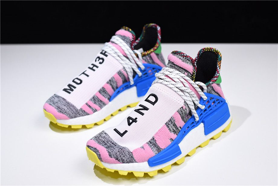 "687f57b537625 Women s Pharrell x adidas NMD Hu ""Solar Pack"" Hi-Res Red Bright Blue BB9531"