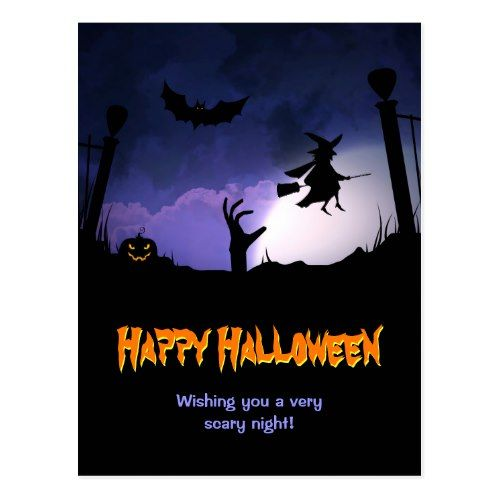Scary Graveyard   Pumpkin Witch Happy Halloween Postcard