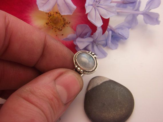 Rainbow Moonstone Ring Sterling Silver by ArtemisJewellery on Etsy