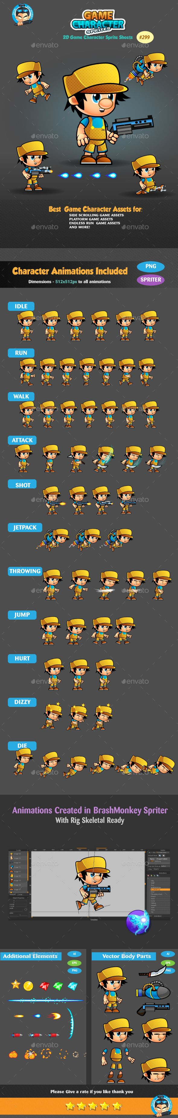 2D Game Character Sprites 299 Game character, Sprite