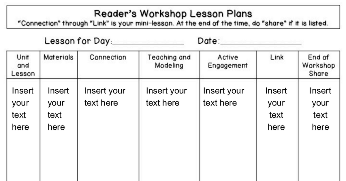 Readers Workshop Lesson Plan Templatepptx Helpful Tips