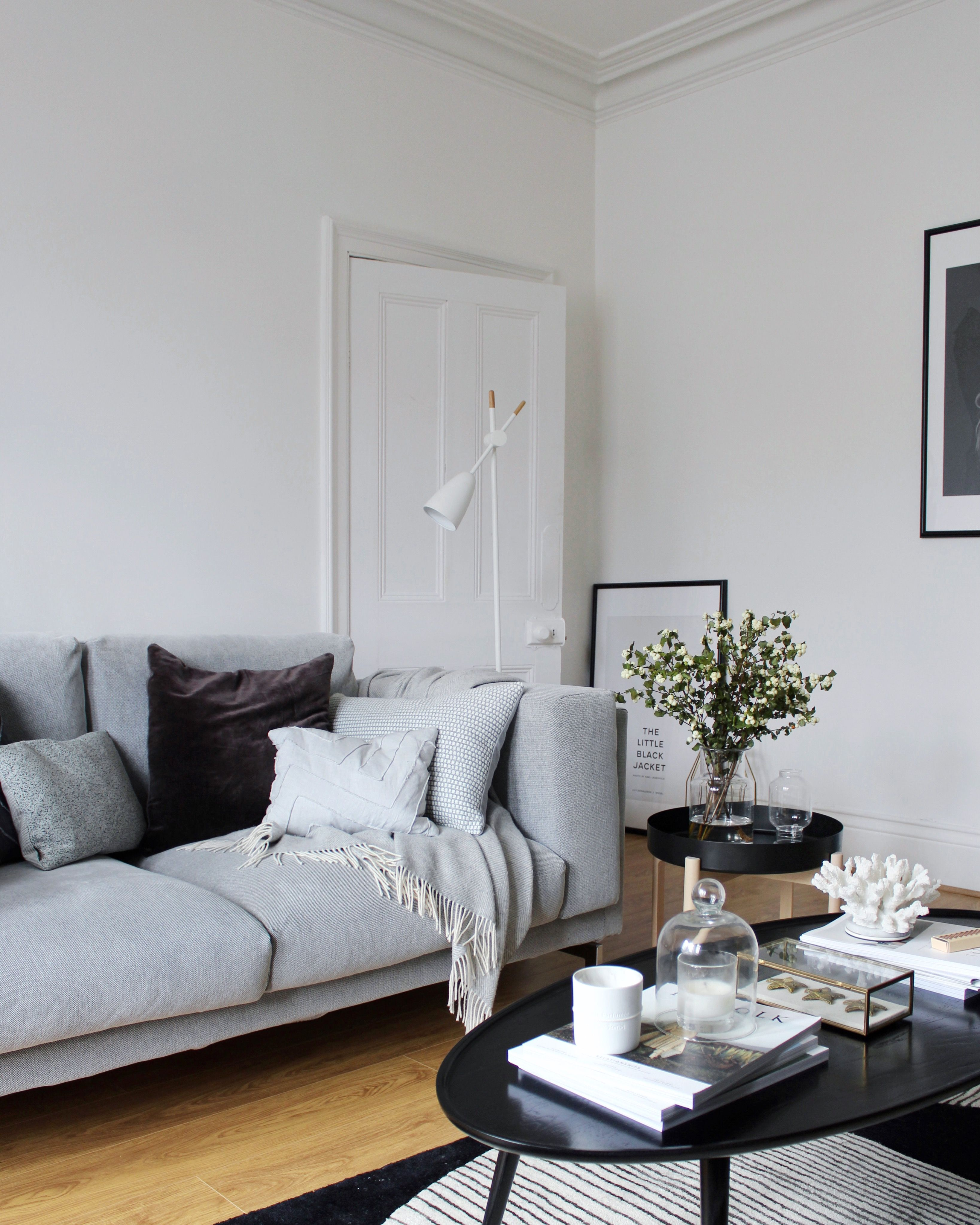 Ikea Nockeby Two Seater Sofa In Black White Talmyra Without Doubt One Of The Best Decisions I Ever Made Home Living Room Living Room Sofa Ikea Living Room