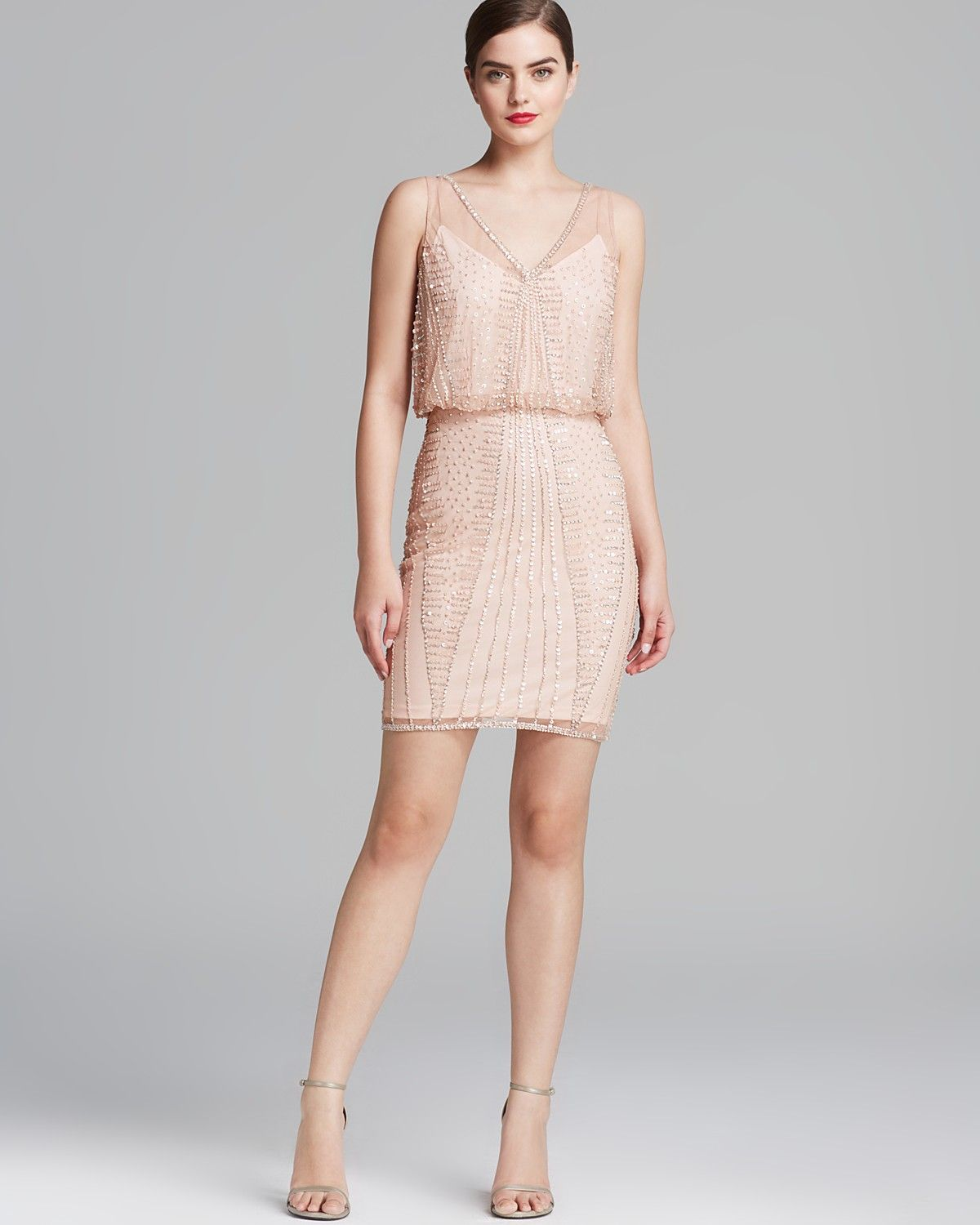Adrianna papell dress v neck beaded blouson bloomingdales bridesmaid dress blush pink bloomingdales adrianna papell dress v neck beaded blouson ombrellifo Images