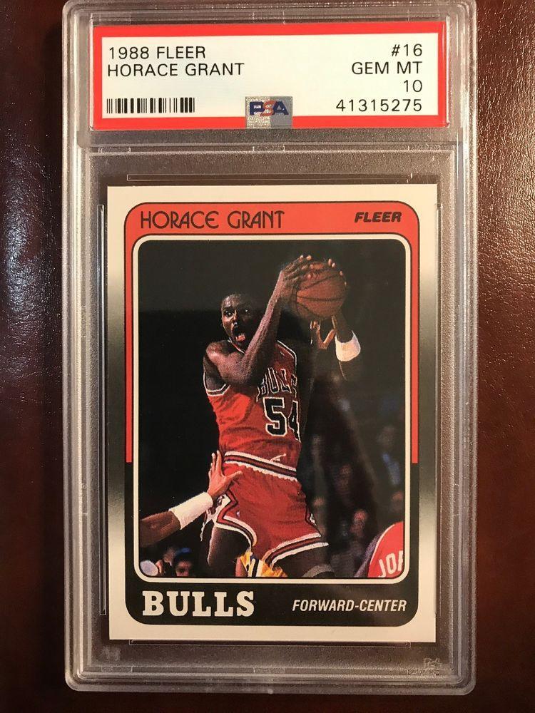 1988 fleer 16 horace grant rc bulls psa 10 gem mint