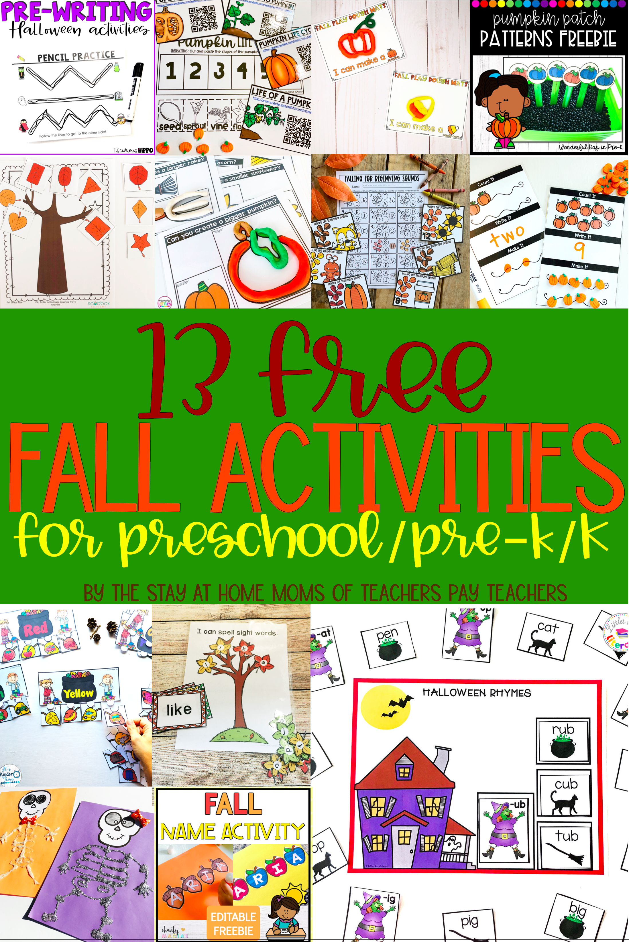 Free Fall Activities For Preschool Pre K And