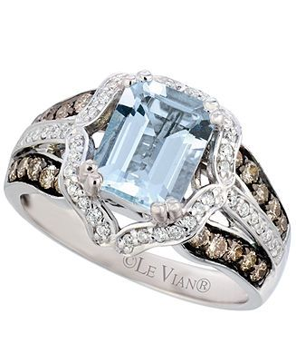 Le Vian Aquamarine (1-3/4 ct. t.w.) and Diamond (5/8 ct. t.w.) Emerald Ring in 14k White Gold - Rings - Jewelry & Watches - Macy's