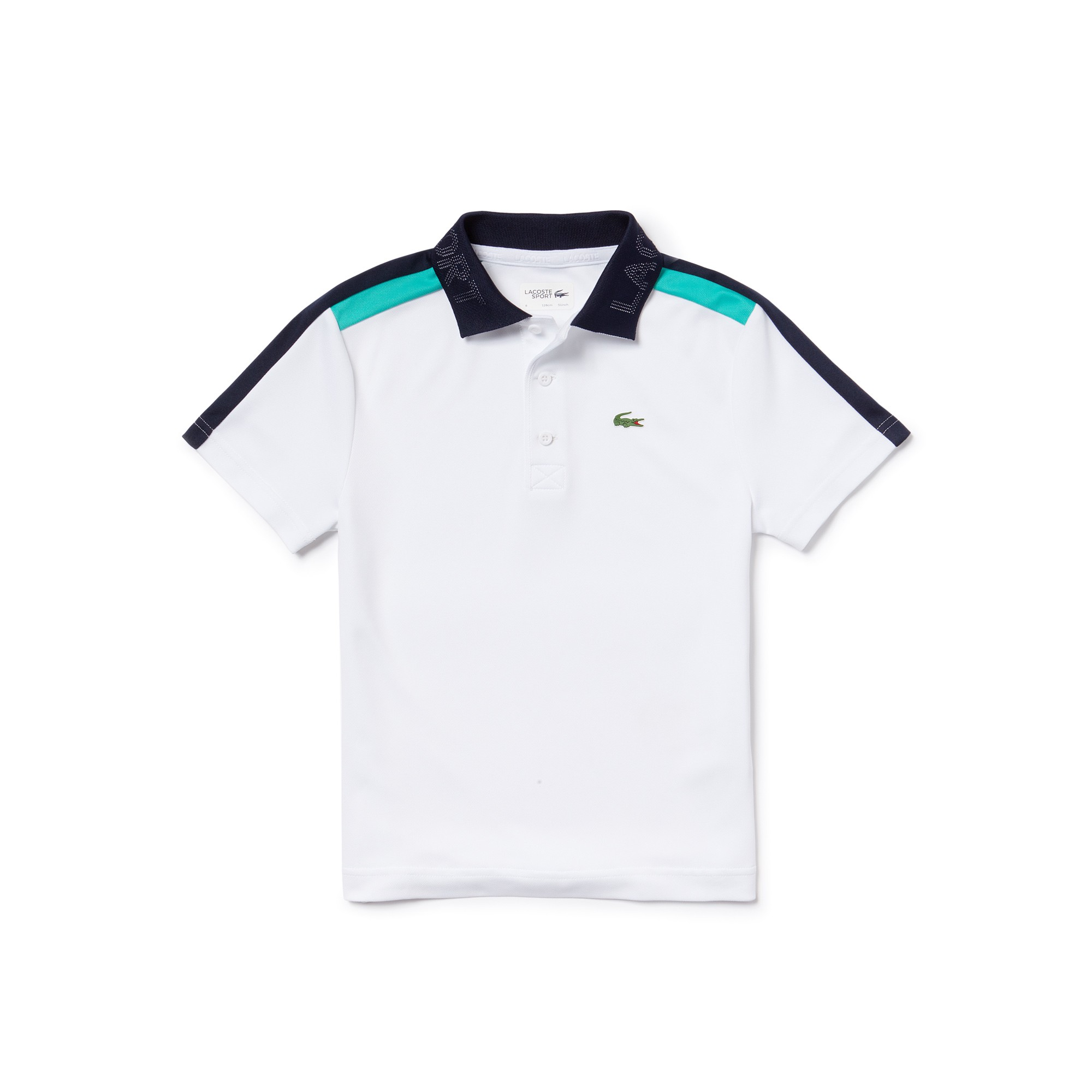00020e5eda24 Lacoste Boys  Sport Contrast Bands Piqué Tennis Polo - Lighthouse Red Navy  Blue- 10 Years Green