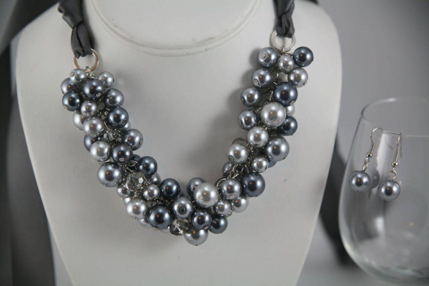 27 dollars for this chunky gray (grey) pearl necklace and free single drop earrings pewter ribbon, bridesmaids gift bridal party wedding