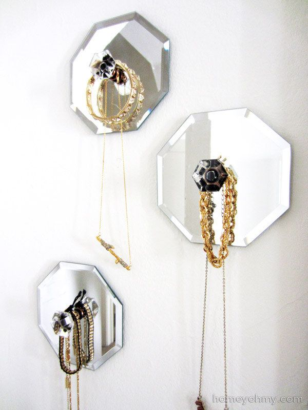 Combine Dollar Store Mirrors And Cute Knobs To Make Your Own Decorative Necklace Hangers
