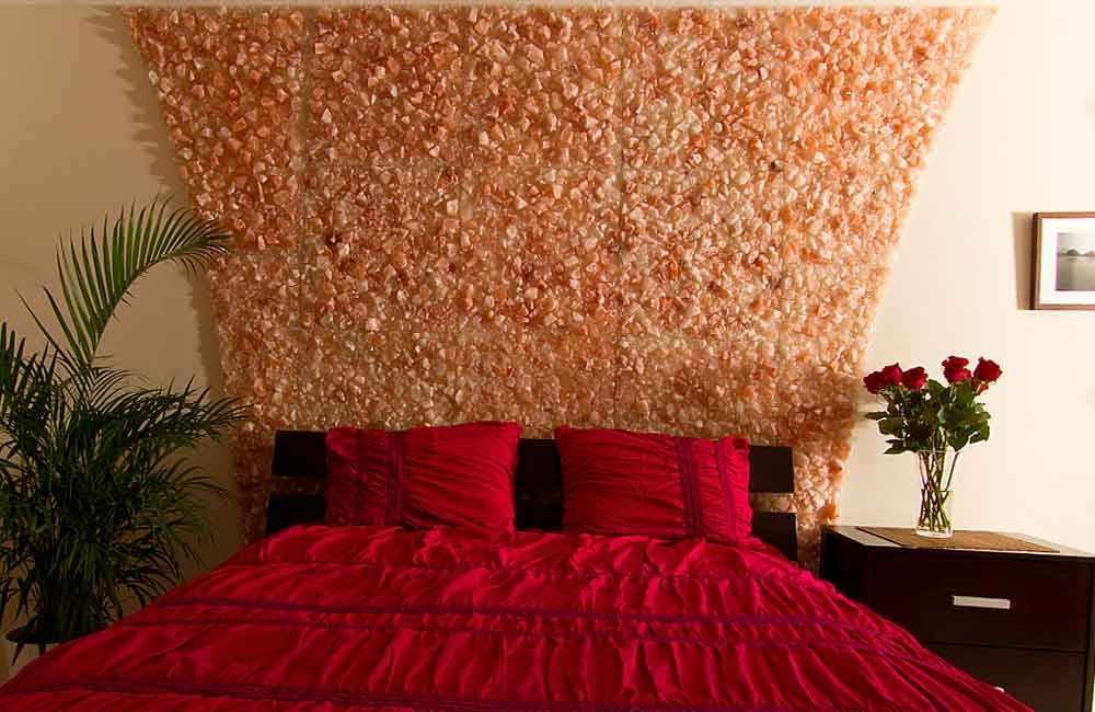 Beautiful Himalayan Pink Salt Wall Over A Bed