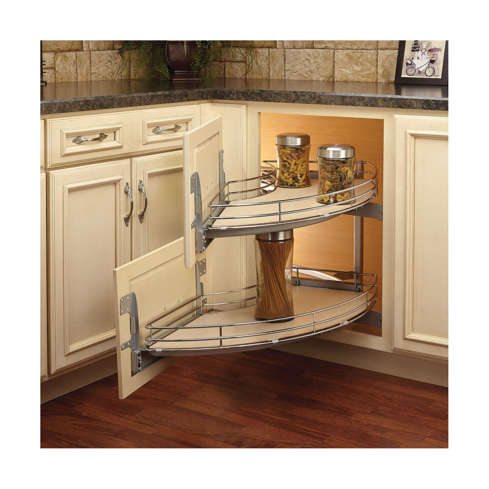 Rev A Shelf Curve Two Tier Right Handed Blind Corner Organizer Wayfair Kitchen Remodel Cost Kitchen Remodel New Kitchen Cabinets