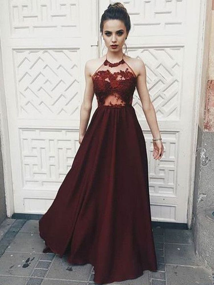 21fd6d651ad Charming A Line Halter Backless Burgundy Satin Prom Dress with Applique