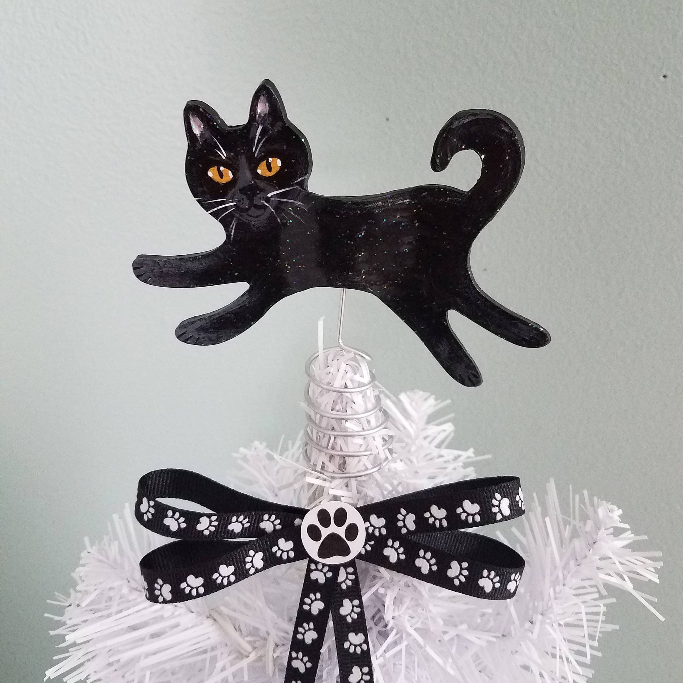 Black Cat Tree Topper ~ Cat Topper ~ Mini Cat