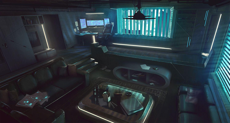 Cyber cyberpunk science fiction futuristic for Cyberpunk interior design