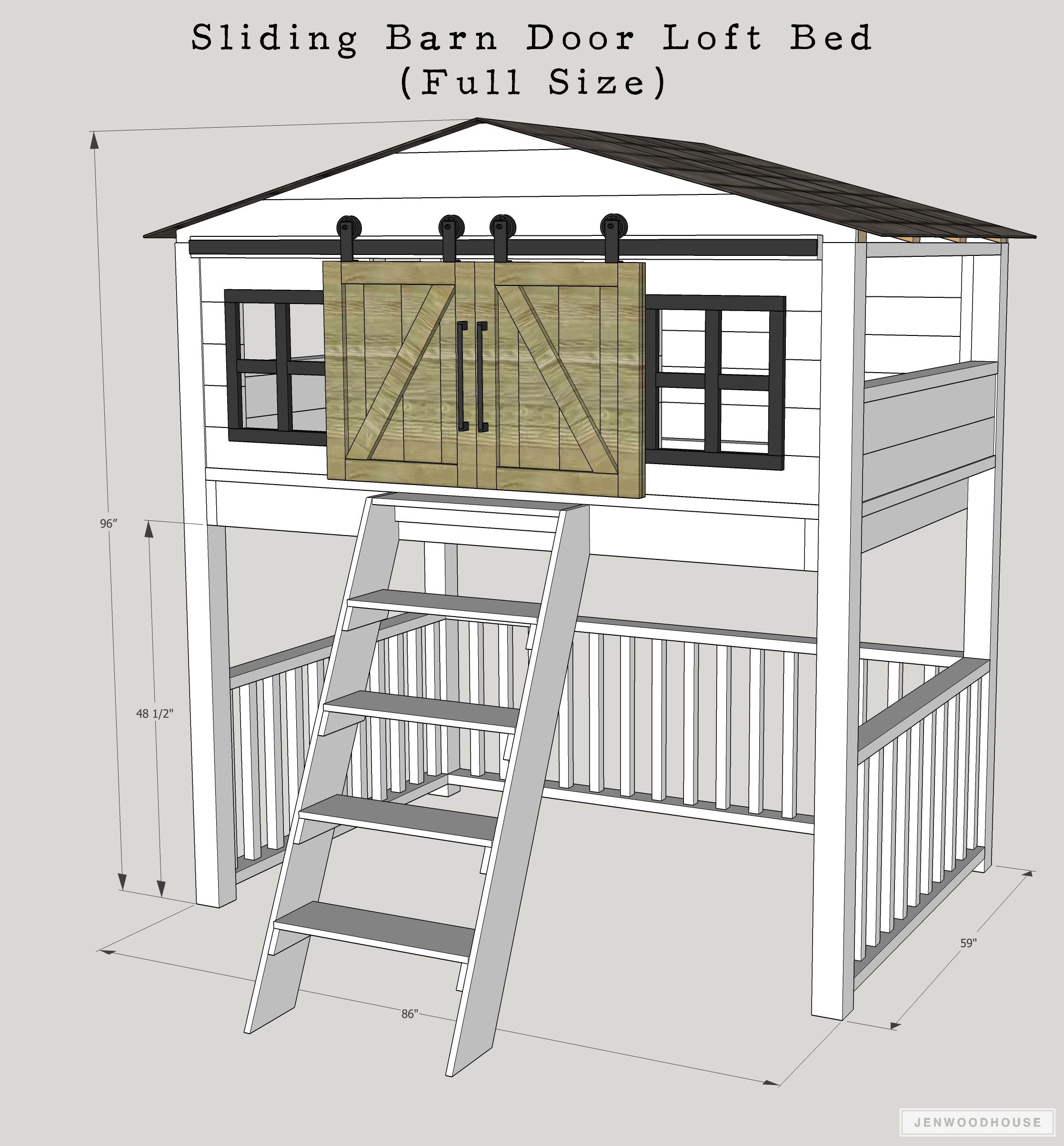 King size loft bed with stairs  How To Build A DIY Sliding Barn Door Loft Bed Full Size  Bed frames
