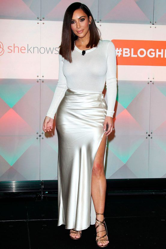 4f69743f13 Kim Kardashian Opts For A Satin Side Split Skirt To An Event In LA, 2016