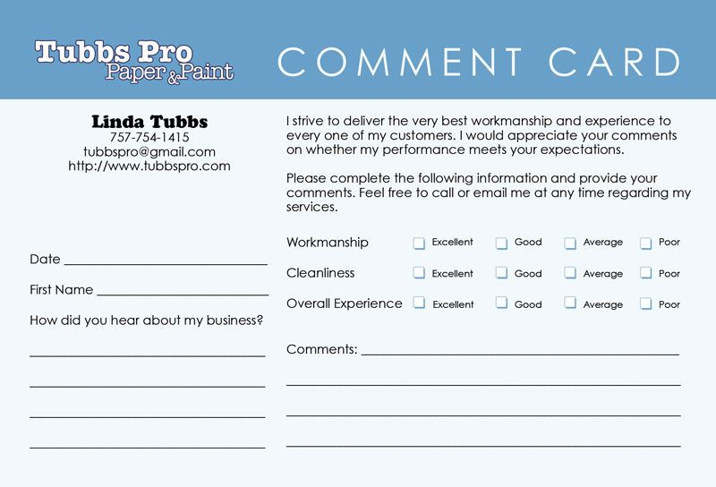 This Is A Clean Comment Card Not Too Cluttered  Work Ideas