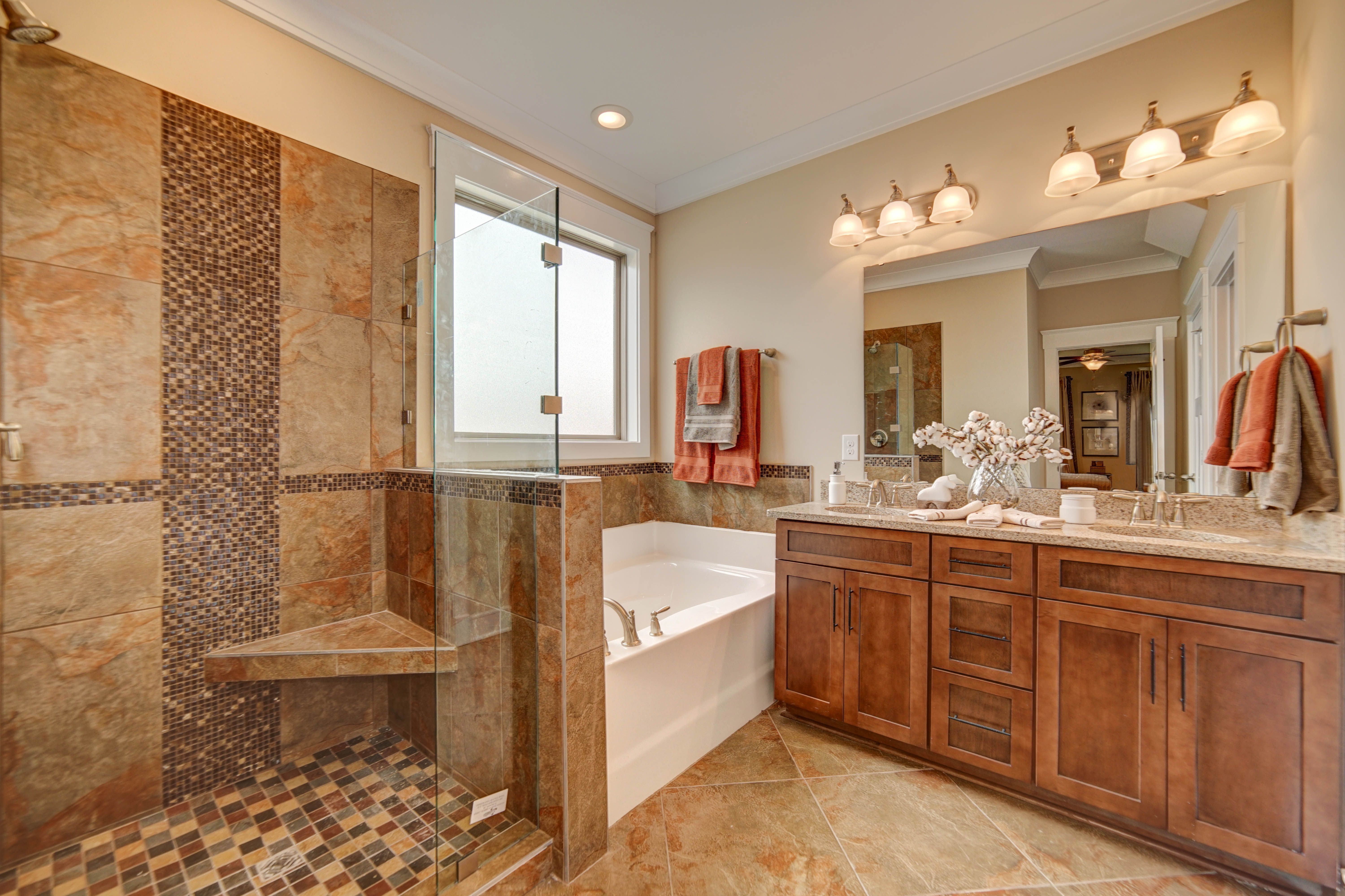 Luxurious relaxing bathroom with fancy tile shower. | Interior ...