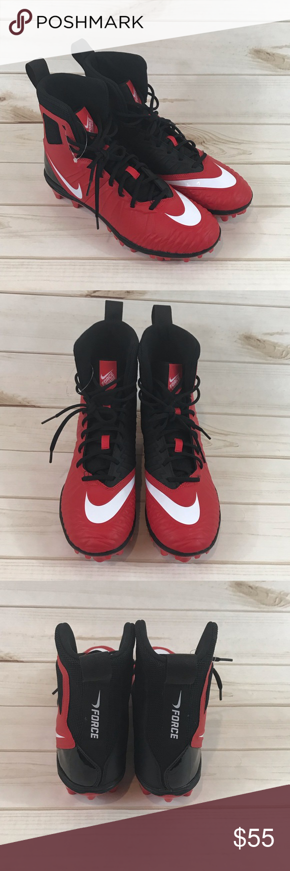 a88816b9469 Nike Force Savage Varsity Men s Football Cleat Nike Force Savage Varsity  Men s Football Cleat Size 10 Black Red A synthetic upper with high-top  silhouette ...