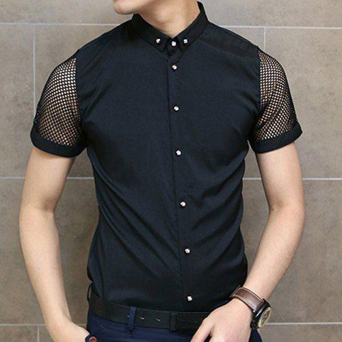 82d27a554e0  13.36 Slimming Trendy Shirt Collar Solid Color Mesh Splicing Short Sleeve  Cotton Shirt For Men
